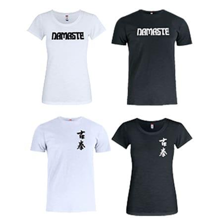 Slub t-shirt i hvid eller sort med namaste eller gu chen logo